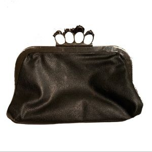 Handbags - Black Leather Knuckle Pouch Clutch